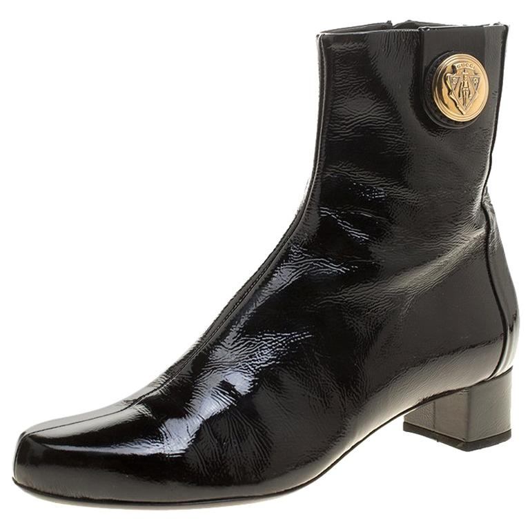 8b8e29e07 Gucci Black Patent Leather Hysteria Ankle Boots Size 38 For Sale at 1stdibs