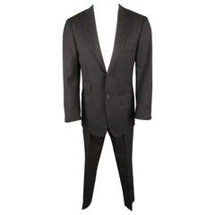 Men's GIANLUCA ISAIA 36 Navy & Brown Stripe Wool 32 28 Notch Lapel Suit