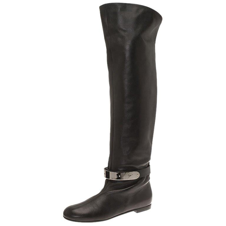 ac20195d33e41 Giuseppe Zanotti Black Leather Logo Plaque Flat Over the Knee Boots Size 41  For Sale