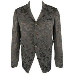 Men's COMME des GARCONS HOMME PLUS M Black & Navy Jacquard 3 Button Jacket
