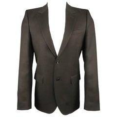 Men's ALEXANDER MCQUEEN 38 Charcoal Plaid Wool Notch Lapel Sport Coat