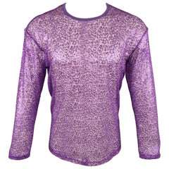 JUNYA WATANABE Size M Purple Sequined Mesh Crew-Neck Pullover