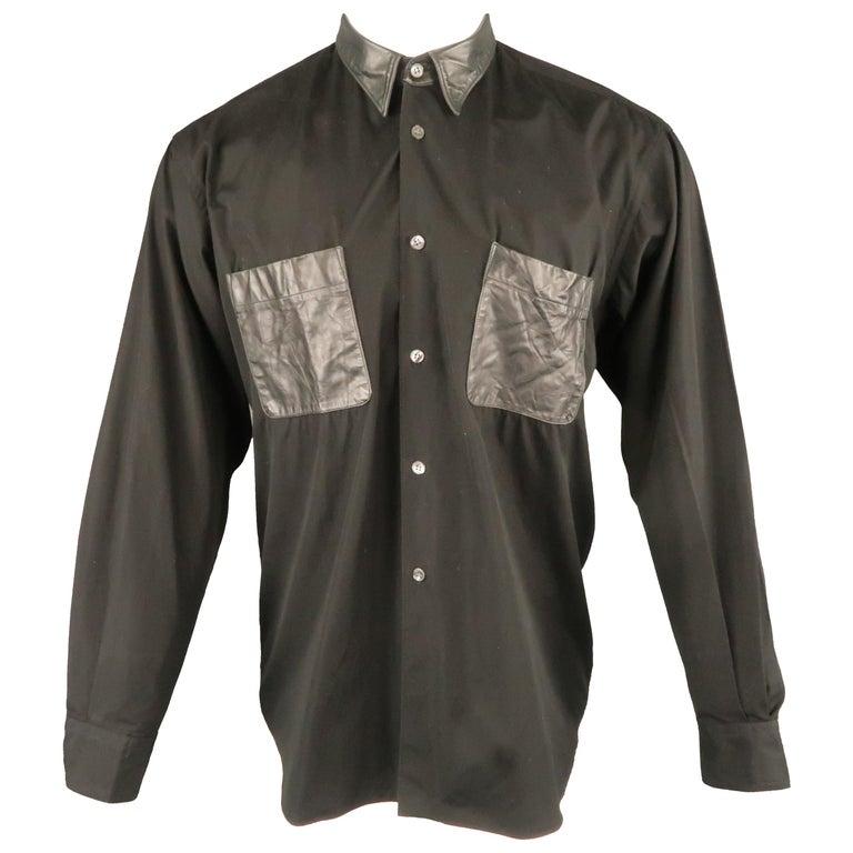 4190434d COMME des GARCONS S Black Cotton Leather Pocket Button Up Long Sleeve Shirt  For Sale