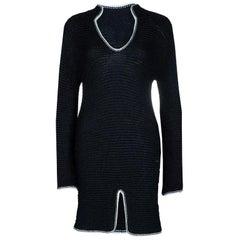 Chanel Black Chunky Loose Knit Long Sleeve Dress S