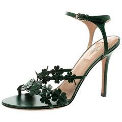 Valentino Green Leather Four Leaf Clover Appliquè Ankle Strap Sandals Size 40