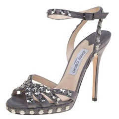 93113d8fd796 Jimmy Choo Metallic Grey Suede Joni Crystal Embellished Ankle Strap Sandals