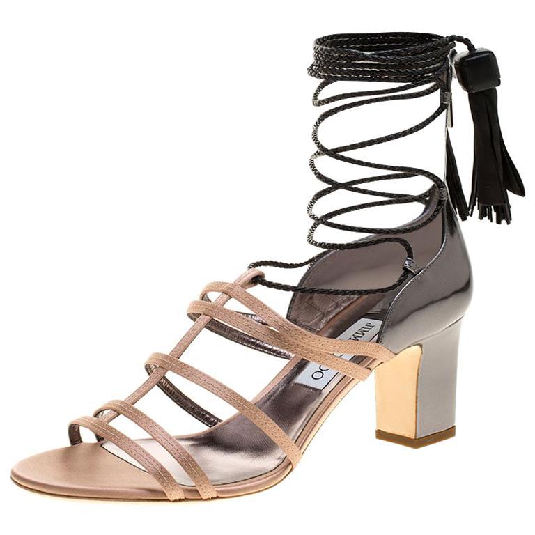 9819de47eaa Jimmy Choo Beige Satin and Metallic Leather Diamond Tie Up Block Heel  Sandals Si For Sale at 1stdibs