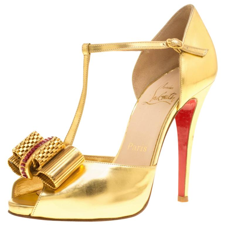 3392ecd81691 Christian Louboutin Leather Archidisco T Strap Peep Toe Sandals Size 37 For  Sale