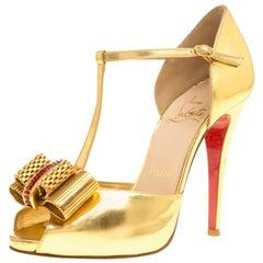 Christian Louboutin Leather Archidisco T Strap Peep Toe Sandals Size 37