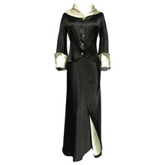 A Coco Chanel (attributed to) Tuxedo Satin Skirt Couture Suit - Paris Circa 1933