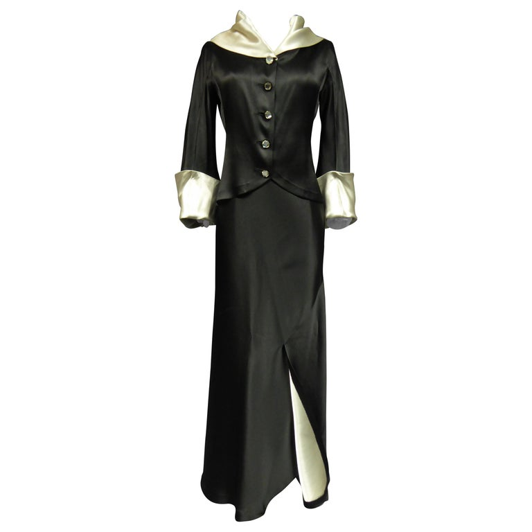 A Coco Chanel (attributed to) Tuxedo Satin Skirt Couture Suit - Paris Circa 1933 For Sale