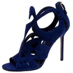 Sergio Rossi Blue Suede Cutout Sandals Size 38.5