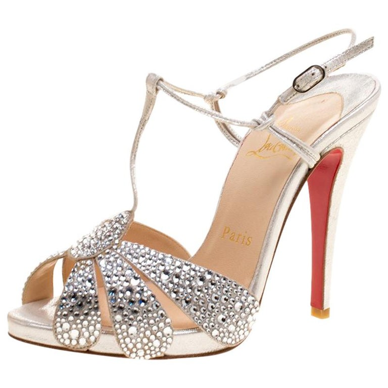 sports shoes 4610b ade06 Christian Louboutin Crystal Studded Suede Margi Diams Sandals Size 35