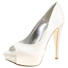 Gina Satin Jenna Crystal Embellished Heel Peep Toe Platform Pumps Size 37.5