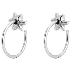 Giulia Barela Fine Silver Hoop Stars Small Earrings