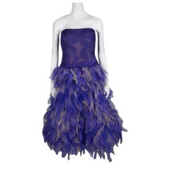 Tadashi Shoji Purple and Begie Tulle Embroidered Faux Feather Strapless Dress L