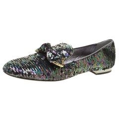 Louis Vuitton Two Tone Sequins Amulet Loafers Size 40