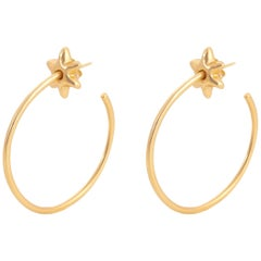 Giulia Barela 24 Karat Gold Plated Bronze Hoop Stars Large Earrings