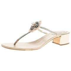René Caovilla Cream Leather Crystal Embellished Thong Sandals Size 38.5