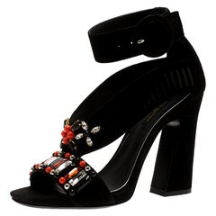 Louis Vuitton Black Suede Starlife Embellished Ankle Strap Sandals Size 38