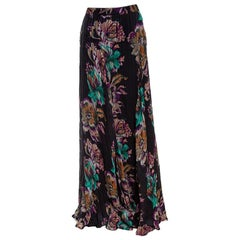 Etro Black Floral Printed Crinkled Silk Maxi Skirt M