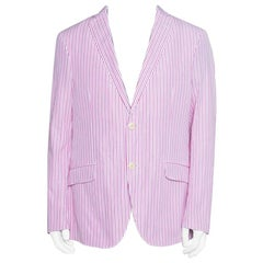 Etro Pink and White Striped Cotton Tailored Blazer XL