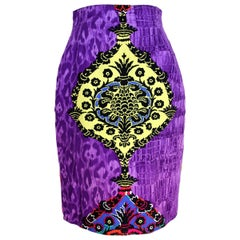 1990s Gianni Versace Purple Fantasy Cotton Vintage Skirt