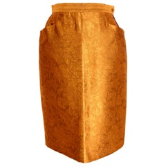 1990s Yves Saint Laurent Rive Gauche Gold Damask Vintage Skirt