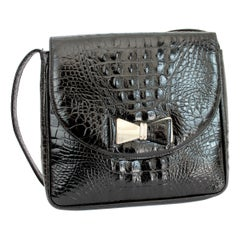 1990s Gianni Versace Couture Black Leather Crocodile Print Vintage Shoulder Bag