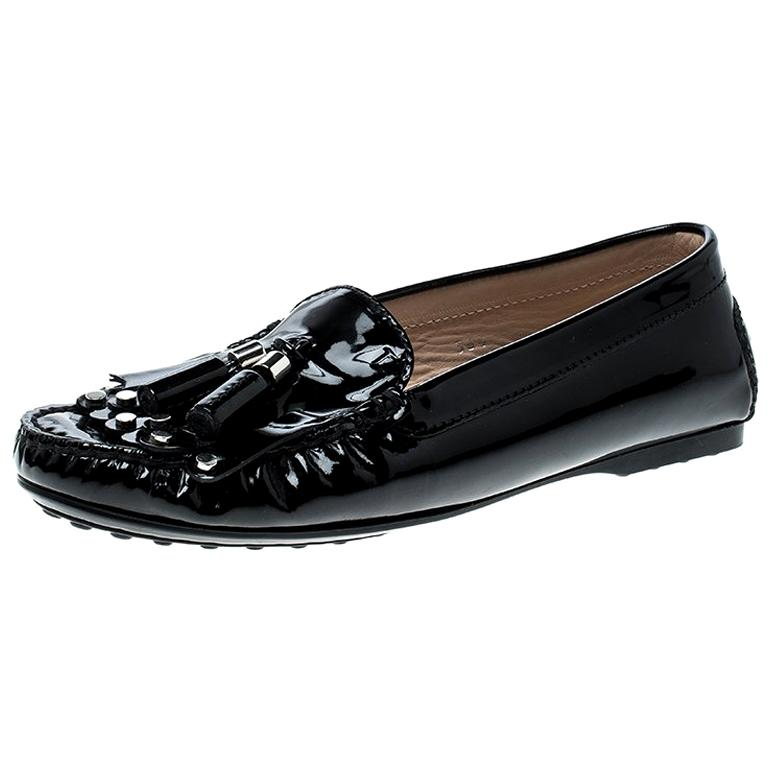 861d15020 Tod's Black Patent Leather Tassel Loafers Size 36.5 For Sale at 1stdibs