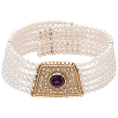 14 K Gold Rhodolite Garnet Cultured Pearl Choker-Art Deco Style