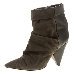 Isabel Marant Khaki Green Suede and Black Leather Andrew Pointed Toe Ankle Boots