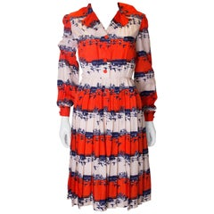 Vintage Dress in Red , White and Blue Bird Print