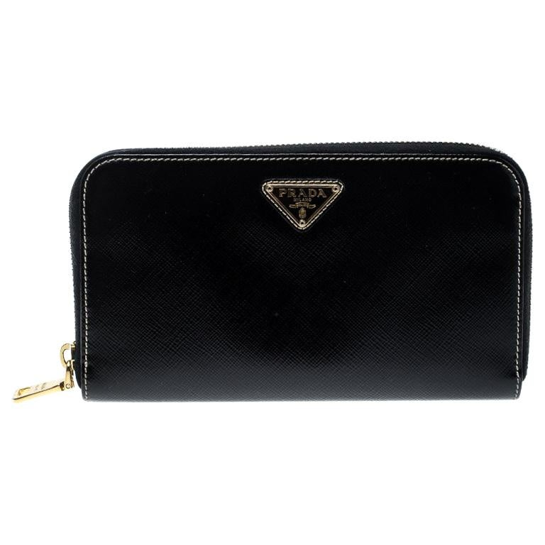 34bb0af3e0a1 Prada Black Saffiano Vernic Leather Zip Around Wallet For Sale at ...