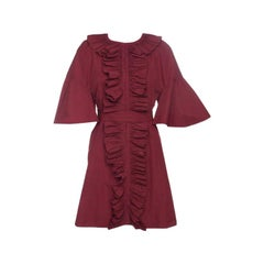 Fendi Red Ruffled Trim Flared Sleeve Belted Cocktail Dress S