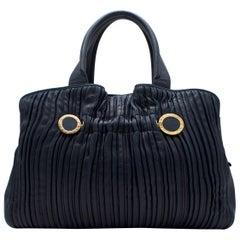 Bvlgari petrol blue pleated leather tote bag