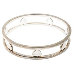 Tiffany & Co. Open Heart Silver Wide Bangle Bracelet
