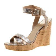 Stuart Weitzman Silver Embossed Suede Cross Strap Cork Wedge Sandals Size 40.5