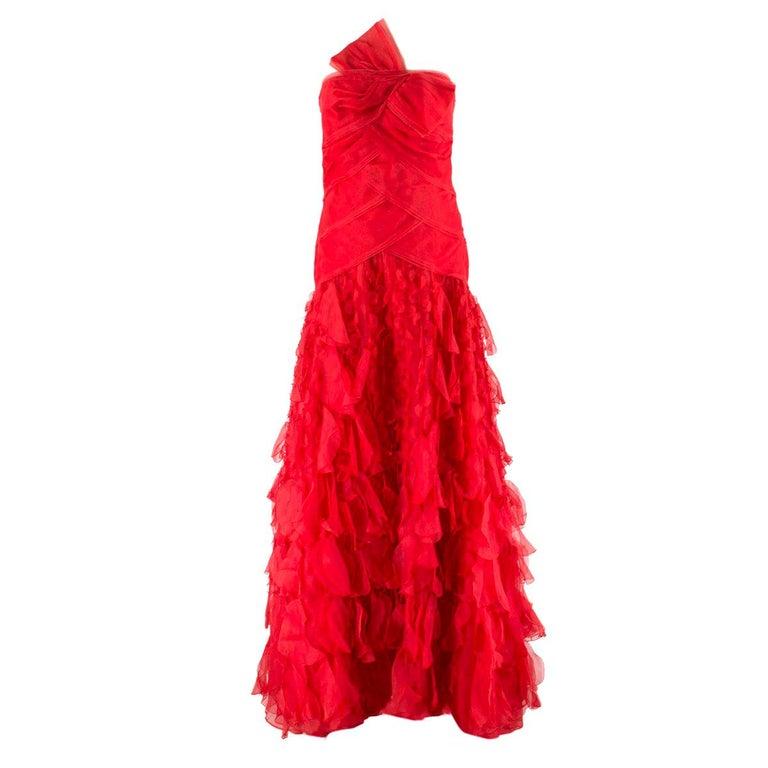 Oscar de la Renta vintage couture red silk-organza gown  US 10 For Sale