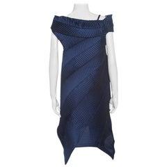 Issey Miyake Navy Blue Pleated Boat Neck Asymmetric Dress S