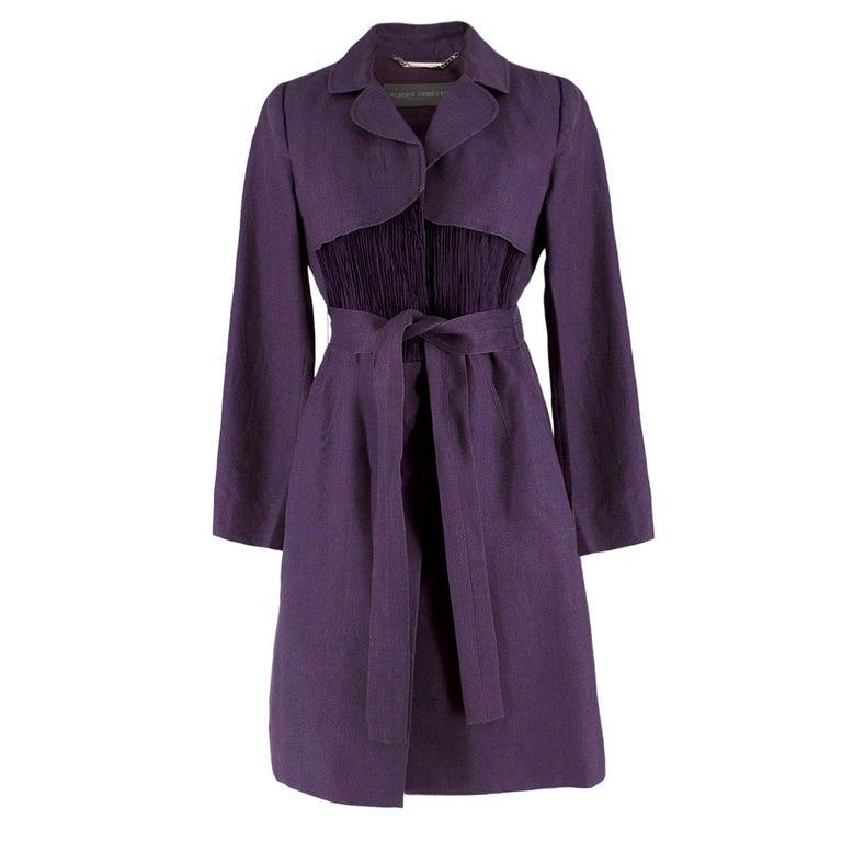 Alberta Ferretti vintage purple belted silk jacket  US 8 For Sale