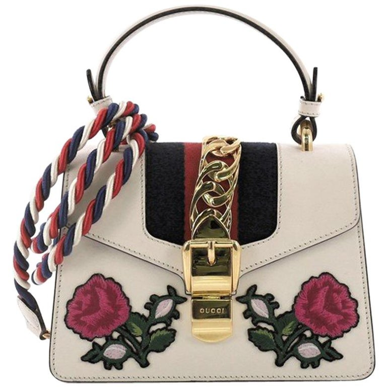 20b87e5034ec Gucci Sylvie Top Handle Bag Embroidered Leather Mini For Sale at 1stdibs