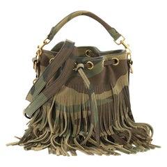 Saint Laurent Fringe Emmanuelle Bucket Bag Printed Suede Small a21b817337a50