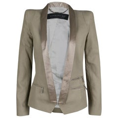 Barbara Bui Khaki Cotton Satin Trim Tailored Blazer S