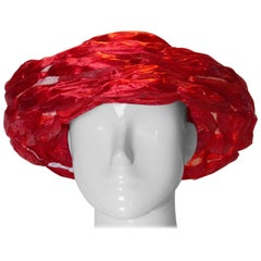Vintage Red Ribbon and Net Hat by Fenwicks