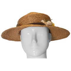Vintage Straw Hat with Ribbon