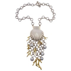 Marc by Marc Jacobs Silver and Gold Plated Seashell Underwater Design Neckace
