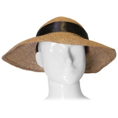 Vintage 1970s Straw Hat with Ribbon and Flowers