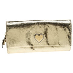 Dolce and Gabbana Gold Mirror Leather Heart Continental Wallet