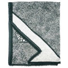 Stella McCartney Green/White Leopard & Dot Print XL Model Blend Scarf